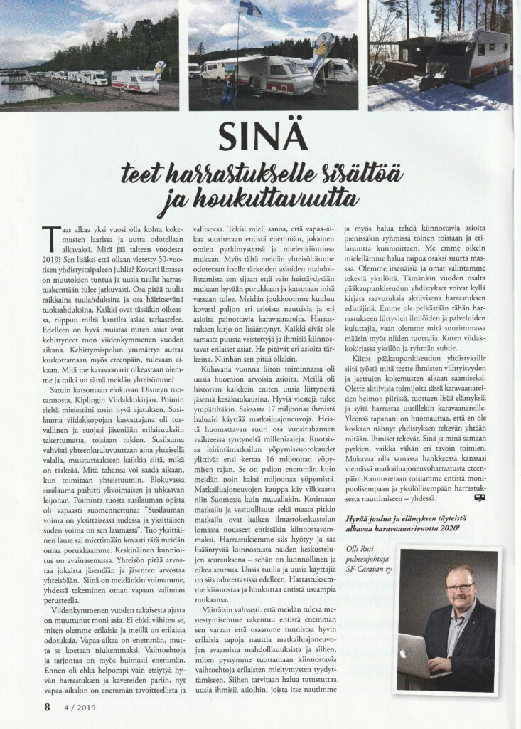 Vankkuriuutiset 4/2019 artikkeli.