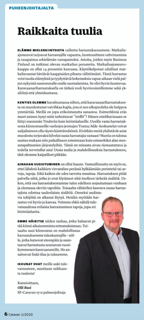 Caravan -lehti 1/2020 Puheenjohtajan palsta
