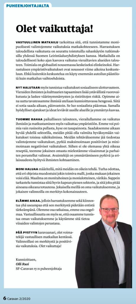 Caravan -lehti 2/2020 puheenjohtajan palsta