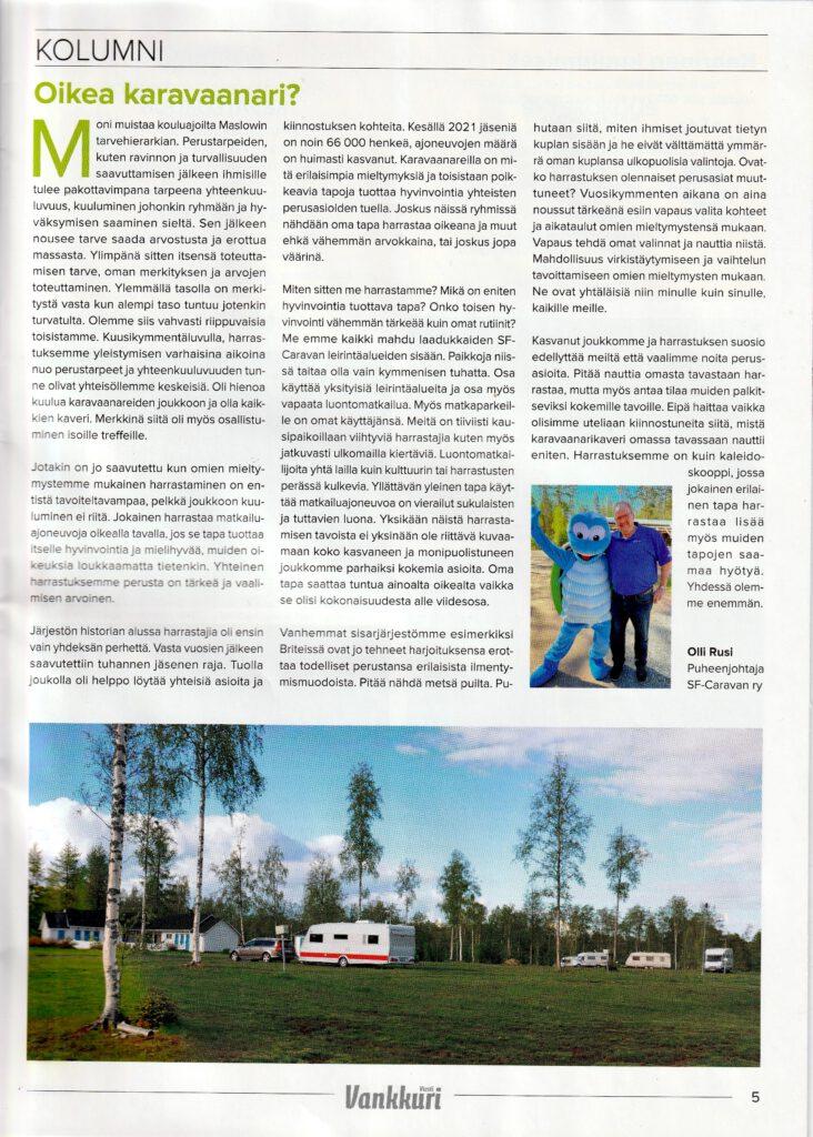 Oikea karavaanari? Kolumni VankkuriViesti 3/2021 -lehdessä.